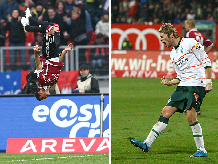 Albert Bunjaku bejubelt seinen Treffer zum 2:0 mit einem Salto. Fast wäre ganz Nürnberg Kopf gestanden, doch in letzter Minute schaffte Bremen durch ein Traumtor von Aron Hunt den 2:2 Ausgleich.
