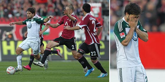Diego (Wolfsburg) im Zweikampf und tief enttäuscht nach der 2:1 Niederlage.